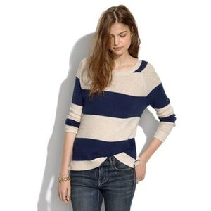 Madewell Leafstitch Crew Neck in Stripe Sweater